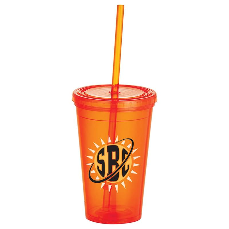 Iceberg 16oz Double-Wall Tumbler w/Straw