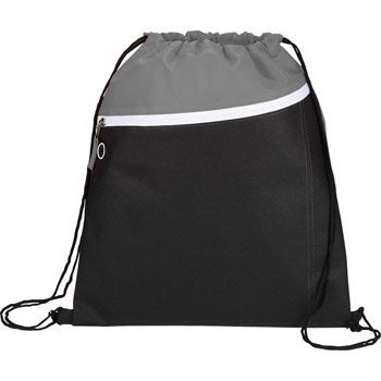 Slant Front Pocket Drawstring Bag